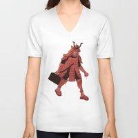 samurai V-neck T-shirts featuring Samurai by edusá studio