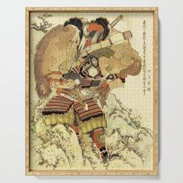 Hokusai – Hatakeyama Shigetada carrying his horse,  葛飾 北斎, Samurai,Genpei,Jidaigeki. Serving Tray