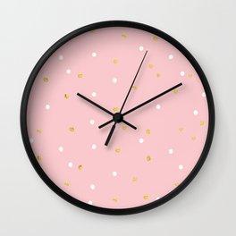 Pink & Gold Polka Wall Clock