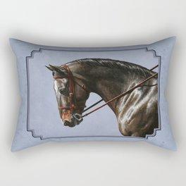 Brown Dressage Horse Rectangular Pillow
