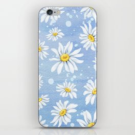 Spring Daisies On Sky Blue Watercolour iPhone Skin