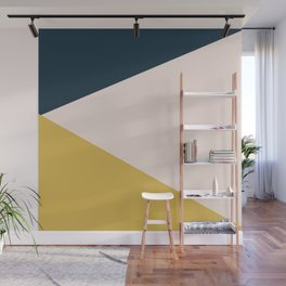 Jag. Minimalist Geometric Color Block in Navy Blue, Mustard Yellow, and Pale Blush Pink Wall Mural