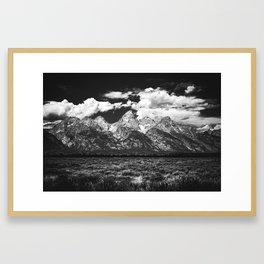 Mountain Summer Escape - Black and White Tetons Framed Art Print