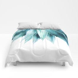 Agave geo fringe - teal Comforters