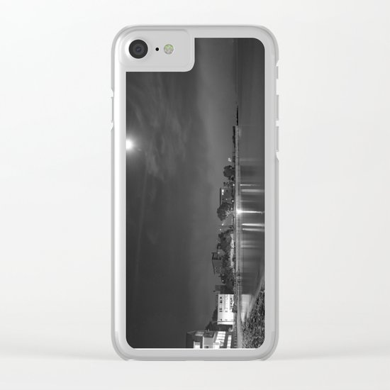 Foggy Moonlit Beach B&W Clear iPhone Case