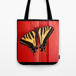 tiger swallowtail butterfly on unusual background Tote Bag