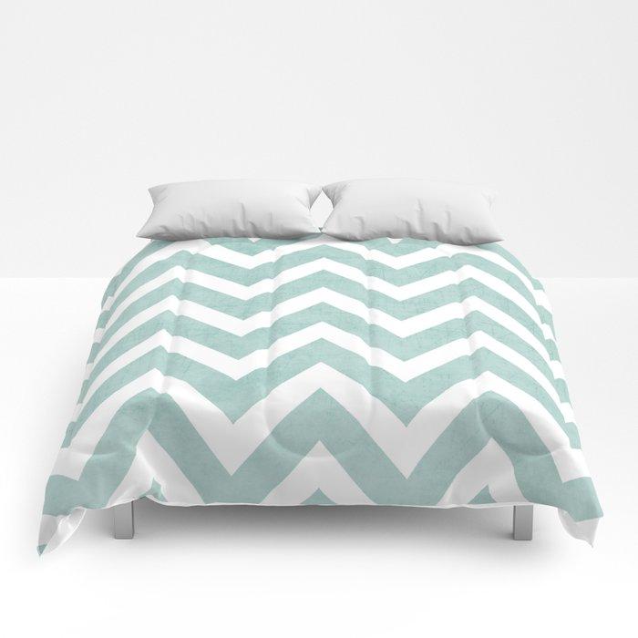 robins egg blue chevron Comforters