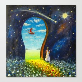 Original painting I believe in miracles. Acrylic, paper. Artist Valery Rybakow Canvas Print