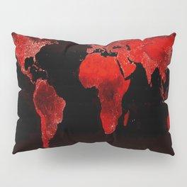 WORLD map : Red Pillow Sham