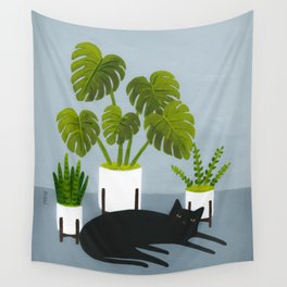 Black Cat With Potted Plants Wall Tapestry