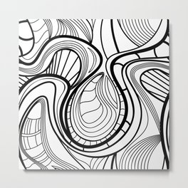 Abstract pattern with waving curling line. Metal Print