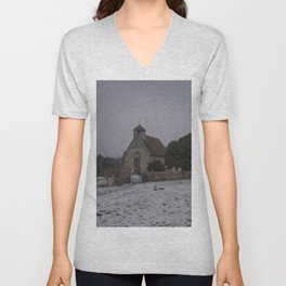 Goodnestone Church In Winter Unisex V-Neck