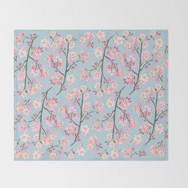 Cherry Blossom Pattern on Sky Blue Throw Blanket