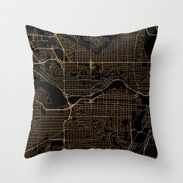 Black and gold Calgary map Throw Pillow