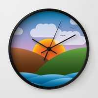 big sur Wall Clocks featuring Big Sur, California by dzynwrld