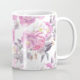 Elegant pink gray watercolor botanical roses flowers Coffee Mug