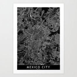 Mexico City Black Map Art Print