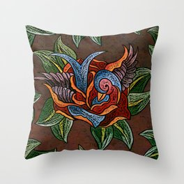 Sparrow Rose One Remix Throw Pillow
