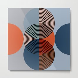EXCLUSION with Orange and Gray Modern Minimalism Metal Print
