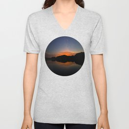 Mountain Sunset Silhouette With Stars Unisex V-Neck