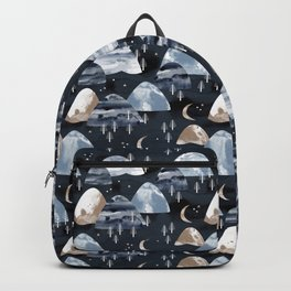 Mountain Landscape Forest Moon Night Hills Black Watercolor Backpack