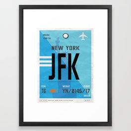 Vintage New York Luggage Tag Poster Framed Art Print