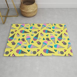 Cruncher - memphis throwback ice cream cone desert 1980s 80s style retro geometric neon pop art Rug