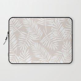 Tropical Palm Leaves - Palm Leaf Pattern - Sandy Beige Laptop Sleeve