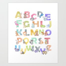 Watercolor Alphabet Animals Art Print
