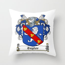 Family Crest - Taylor - Coat of Arms Throw Pillow