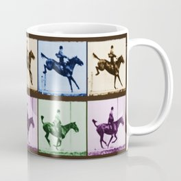 Time Lapse Motion Study Horse And Rider Color Coffee Mug