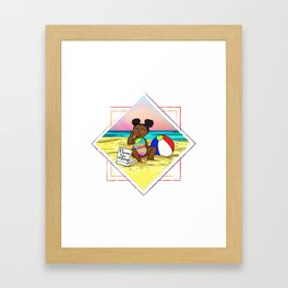 Pizza love at the beach Framed Art Print