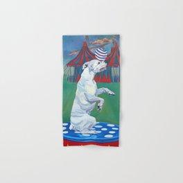 White Boxer Dog and a Balancing Ball Hand & Bath Towel