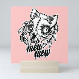 skull of a cat. mew mew cat. Mini Art Print