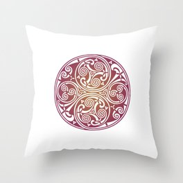 St. Patrick's Day Celtic Red Mandala #3 Throw Pillow