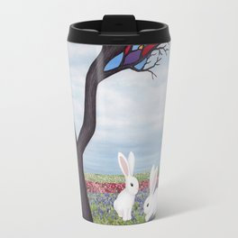 bunnies and the stained glass tree Travel Mug