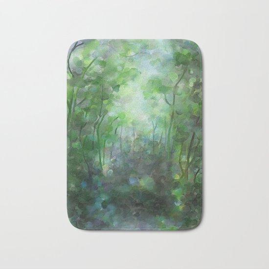 Watercolor forest Bath Mat
