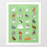 bunnies Art Prints featuring BUNNIES by Doggie Drawings
