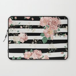 VINTAGE FLORAL ROSES BLACK AND WHITE STRIPES Laptop Sleeve