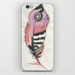 Pink and Orange Feather iPhone Skin