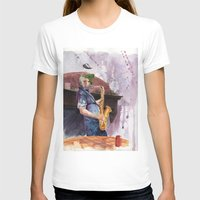 saxophone T-shirts featuring Playing saxophone by aurora villaviejas
