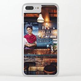 Frida at bar Clear iPhone Case
