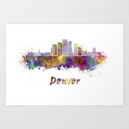 Denver skyline in watercolor Art Print
