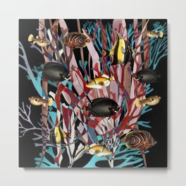 Tropical Fish and Seaweed Metal Print