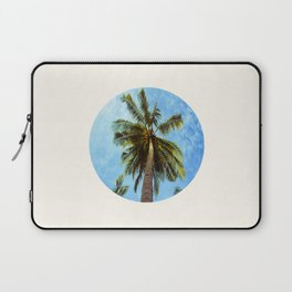 Mid Century Modern Round Circle Photo Looking Up At A Tropical Palm Trees Laptop Sleeve