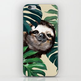 Sneaky Sloth with Monstera iPhone Skin