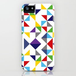 Geometric Pattern Colorful, white background. Good vibes by Cokowo. iPhone Case