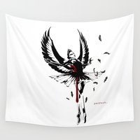 black swan Wall Tapestries featuring Black Swan by XD Art