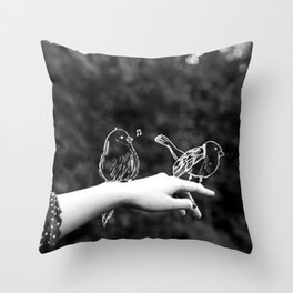 A bird on the hand Throw Pillow