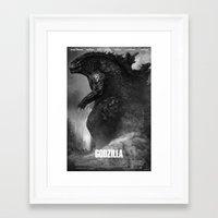godzilla Framed Art Prints featuring Godzilla by ffejeromdiks